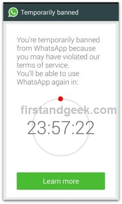 """[Solved] """"You're temporarily banned from WhatsApp"""" Error message"""