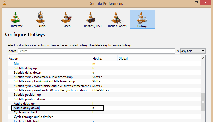The image shows preferences in vlc media player