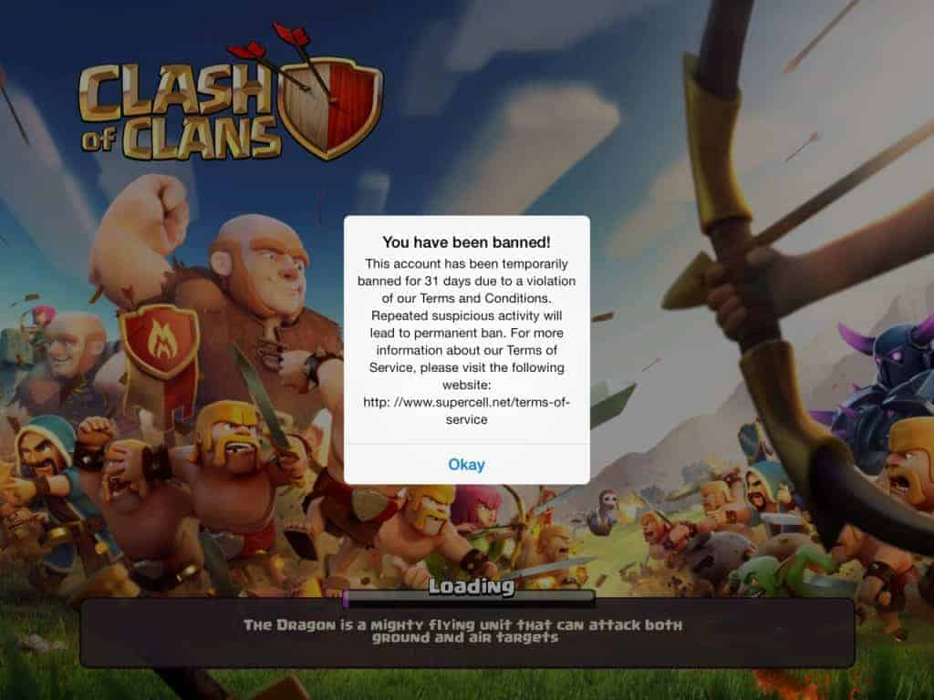 You have been banned clash of clans