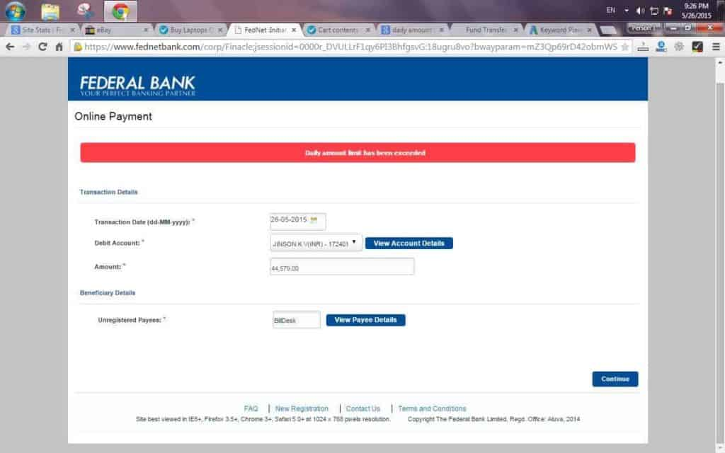 Daily amount Limit has been exceeded in Federal Bank Fednet