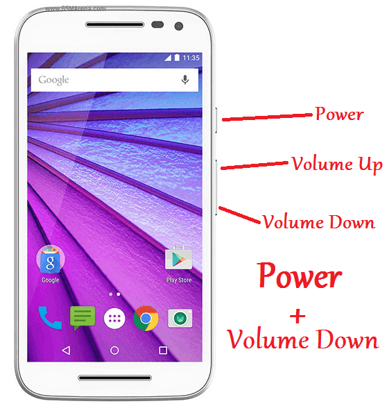 How to take Screenshot in Moto G3 (3rd gen) without any apps?