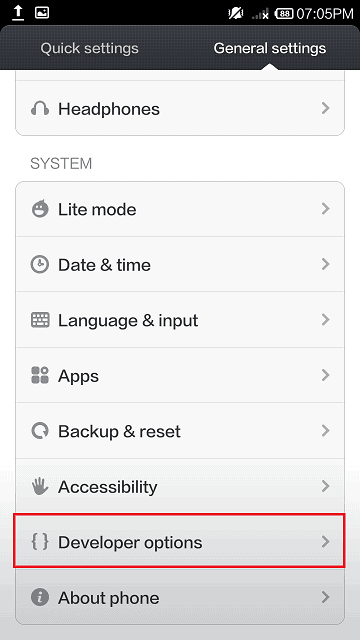 Developer option and USB debugging in Xiaomi Redmi Note 4g