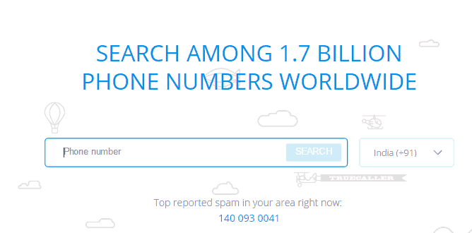 Truecaller number search