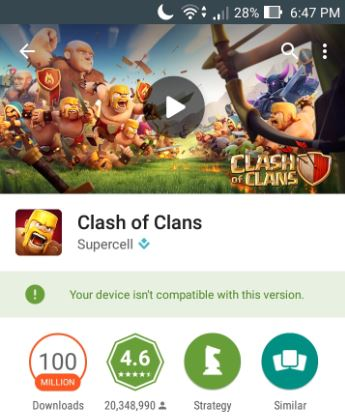 Clash of Clans installing issues after update Device isn't compatible
