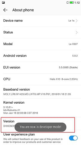 enable Developer option and USB Debugging in LeEco Le 1s
