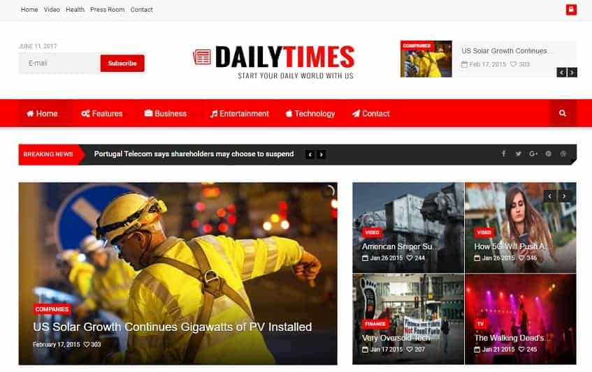 Daily Times Joomla Blog Template