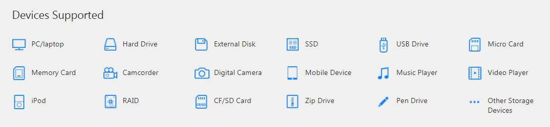 EaseUS Data Recovery Wizard Supported Devices